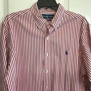 EUC Oxford Button Up Button Collar Striped Polo